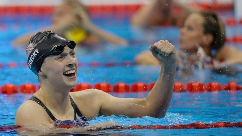 United States' Katie Ledecky wins the gold medal in the women's 200-meter freestyle during the swimming competitions at the 2016 Summer Olympics, Tuesday, Aug. 9, 2016, in Rio de Janeiro, Brazil. (AP Photo/David J. Phillip)